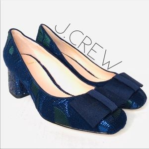 NWT J. Crew jacquard bow glitter heel pumps 7